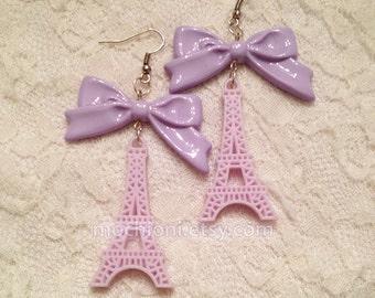 Lavender Eiffel Tower earrings