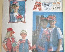 1995 Simplicity 9635 Children's lined vest, pullover top and lined baseball cap pattern sizes 5-8 UNCUT
