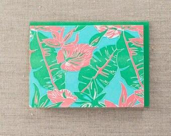 Tahitian Bloom Letterpress Greeting Card