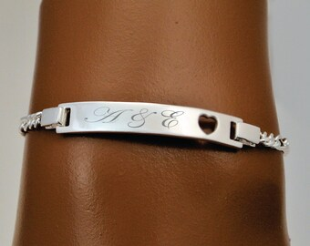 Engraved Sterling Silver With Heart Ladies & Girls Personalized ID Bracelet