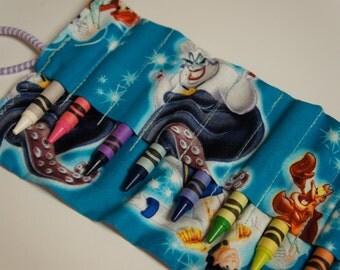 The LITTLE MERMAID Crayon Roll-Up 10 Count Disney Princess Ariel Crayon Caddy Crayola Crayons INCLUDED