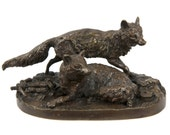 French Antique Bronze Sculpture of Two Foxes after Pierre Mene, 502IYZ14P