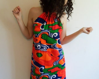 Vintage Lanz Bright Psychedelic Color Acid Trip Halter Mod Dress