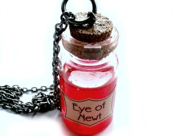 Eye of Newt Potion Necklace Steampunk Vial Handmade Gift