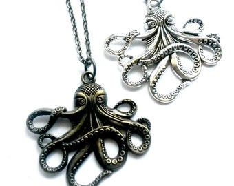 Octopus Necklace Steampunk Kraken pendant Handmade Gift