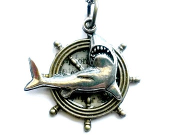 Shark Necklace Ship's Wheel Necklace mixed Metal Steampunk Handmade Gift