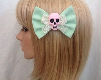 Pastel skull hair bow clip rockabilly psychobilly gothic Lolita rock punk pin up girl creepy skeleton horror fabric ladies girls women