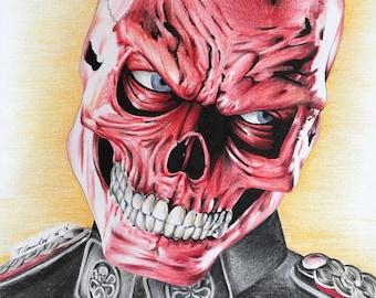 Red Skull fan-art original drawing . a4 new. Marvel captain America