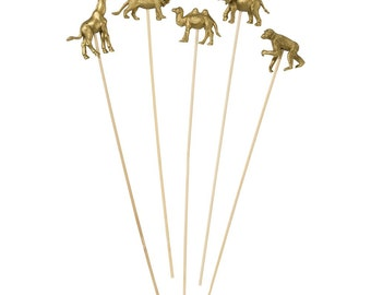 Gold Party Animals drink stirrers - Safari or jungle themed party