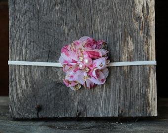 Pink Floral Chiffon Flower Rhinestone Headband, photo prop, Newborn, toddler, adult