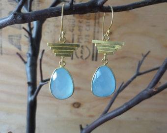 Blue chalcedony earrings, chalcedony drop earrings, blue stone earrings, chalcedony dangle earrings, blue chalcedony gold earrings