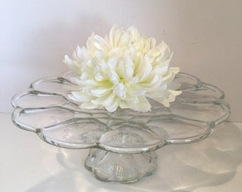 Cake Stand Glass Floral Design