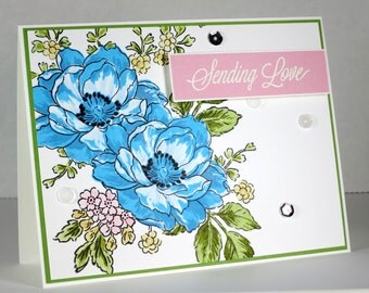 Blue Bouquet Sending Love Greeting Card, Thinking Of You Card, Words of Encouragement, Just Because Card, Handmade Card Blank Card