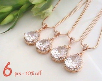 Luxury Jewelry Set of 5 10% Off  Cubic Zirconia Necklace, Maid of Honor, Bridesmaid Gift, Rose Gold Jewelry, CZ Necklace LUX Wedding Jewelry