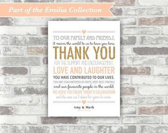 PRINTABLE Digital File - Emilia Collection - Personalised Wedding Thank You Sign Table Decor - Gold Blush Peach-Pink - Place Setting - 6x8