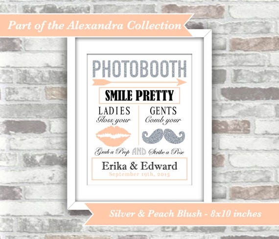 PRINTABLE Digital File - Alexandra Collection - Personalised Wedding Photobooth Sign - Silver and Peach Blush - 8x10 Download - Moustache