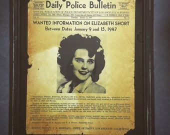 "Daily Police Bulletin on Elizabeth Short ""The Black Dahlia"""