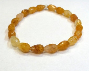 Citrine Bracelet/  Natural Citrine Bracelet/ Natural Citrine Faceted Pear Shaped Bracelet/  November Birthstone Bracelet