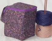 "NEW! Large zippered project yarn box, 7"" x 5.5"" sock box bag, knitting, crochet, embroidery"