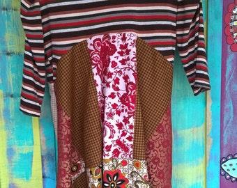 boho hippie tunic top embrodiery applique eco freindly upcycled gypsy boho chic shabby