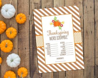 Thanksgiving Game - Word Scramble - Thanksgiving Printables - Friendsgiving Printables - Pumpkin - INSTANT DOWNLOAD - Printable