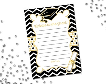 Advice to the Grad - Graduate Advice Card - Gold - Chevron Stripes - Printable - INSTANT DOWNLOAD