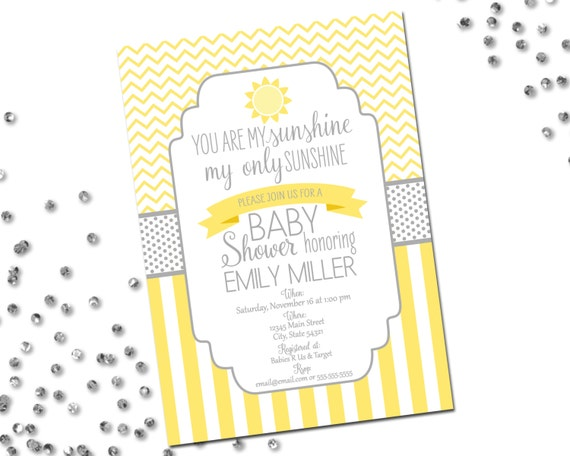 you are my sunshine baby shower invitation yellow and grey, Baby shower invitation