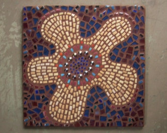 "Mosaic wall hanging, ""Jump for Joy"", retro '70's pop art, porcelain tile, stained glass, blue, white, plum, abstract flower,fun and positive"