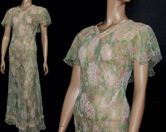 Vintage 1930s Dress// Bias Cut //Floral Print// Silk Chiffon//Sheer Dress// Art Deco//