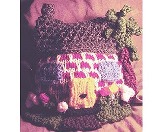 TEA COSY Knitting Pattern, Cottage Tea Cosy Knitting Pattern, Pattern for Tea Cosy, Knitted Tea Cosy, Knitted Cottage Cosy, Pdf Download