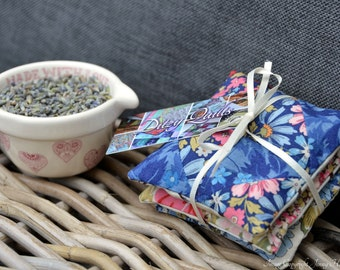 Lavender sachets, Liberty fabric miniature patchwork lavender bags lavender pillows. Microwavable hand warmer or laundry drawer bags UK