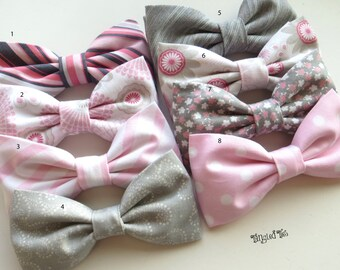 Pink and Grey Bow Ties, Wedding Bow Ties, Pink and Gray Wedding Bow Ties, Pink and Grey Wedding