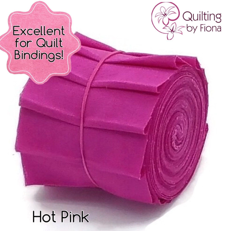 Hot Pink PreCut Quilt Binding Fabric Strips 2.25 Inch