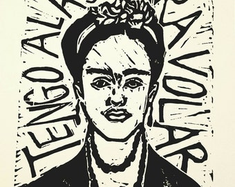 "Frida Kahlo Original Limited Edition Linoleum Print 8"" x 6"""