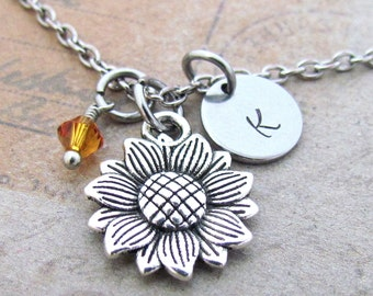 Sunflower Charm Necklace, Personalized Antique Silver Hand Stamped Initial Sunflower Charm Necklace