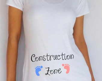 "Maternity White Maternity ""Construction Zone"" Shirt"