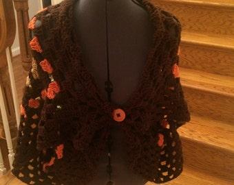 Crochet Cardigan,Brown Cardi,Sleeveless Cardigan,Boho, Chic, Vintage Style,Sleeveless Top,Freesize,Hippie Cardigan,Crochet Wrap, Cover