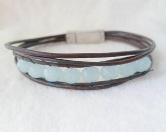 Quartz bracelet - leather wrap bracelet - aqua quartz - boho leather bracelet - leather jewelry - beach boho - beaded leather wrap bracelet