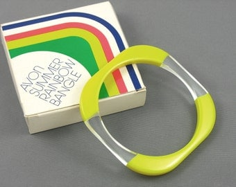 1978 Vintage Bangle Bracelet.  Avon 'Summer Rainbow' Yellow Lucite Bangle Bracelet with original box. Vintage Avon Bracelet