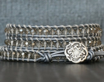 wrap bracelet- silver smoke crystal on silver leather- beaded leather 4 wrap bracelet