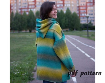Knitting pattern overcoat  Knitting overcoat pattern PDF  File Instant Download Overcoat hand knitted pattern Knitting pattern overcoat