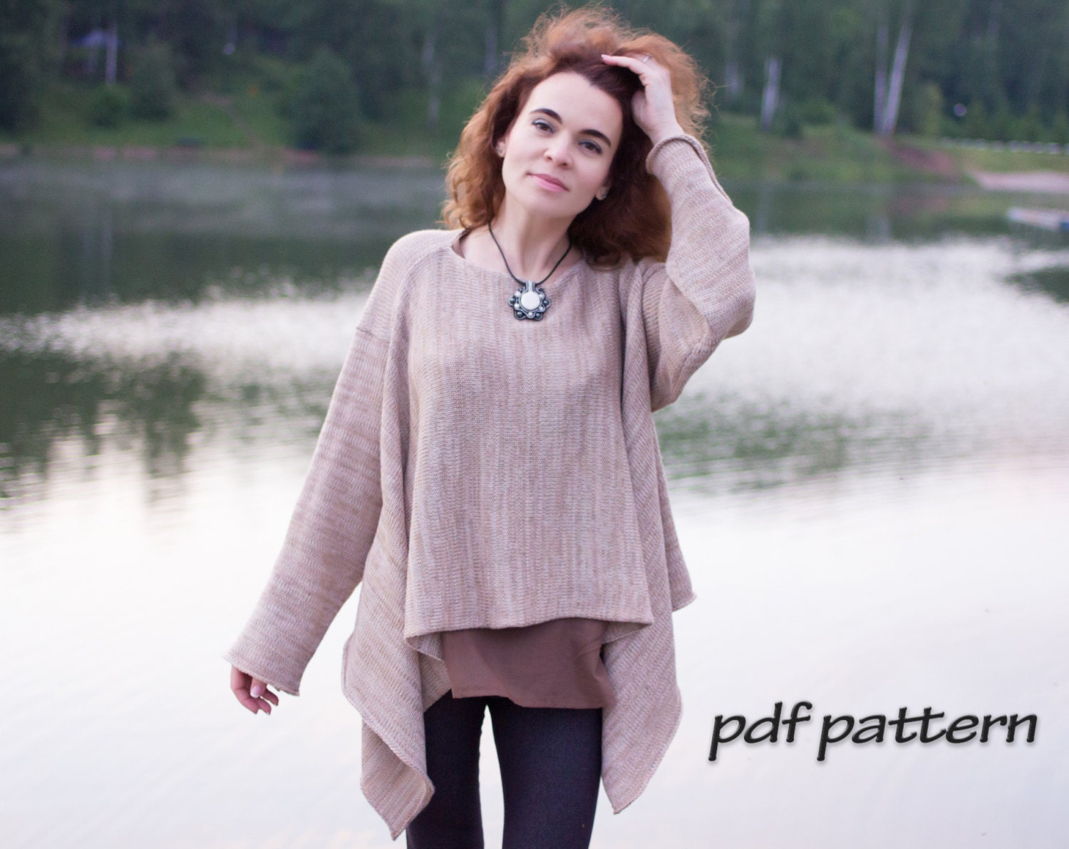 KNITTING PATTERN convertible pullover Plus Size Tunic Over