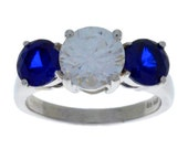 4 Ct Blue Sapphire & Zirconia Round Ring .925 Sterling Silver