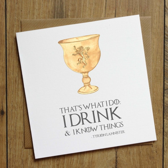 Game Of Thrones Birthday Card Drink And Know Things Card