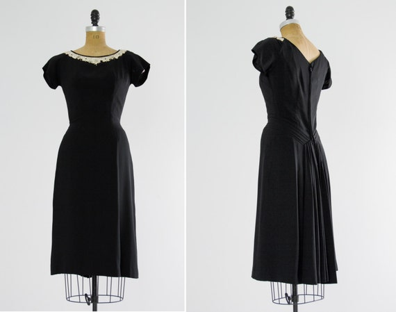 vintage 1940s cocktail dress | 40s rayon dress | 40s black dress | small medium