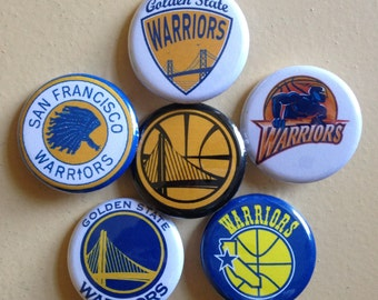 """Golden State Warriors pin back buttons 1.25"""" set of 6"""