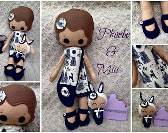 Handmade Doll & Binky Collectable Set - Felt Hand Sewn Doll SEt Made to Order