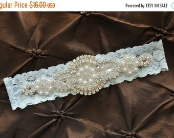 SALE Wedding Garter, Bridal Garter - Blue Lace Garter, Keepsake Garter, Crystal Embellishment, Blue Wedding Garter, Something Blue Garter