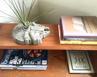 Large Millennium Falcon Concrete Planter - Includes Air Plant - Star Wars Home Decor