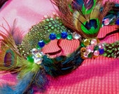 Sexy Peacock feather mask with sequins and rhinestones